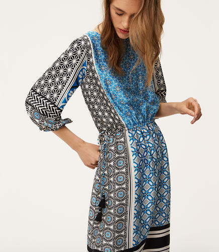 Image of Petite Ocean Mosaic Tassel Dress