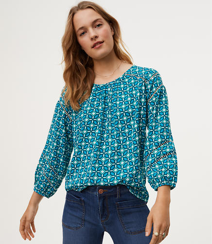 Image of Petite Tiled Cutout Blouse