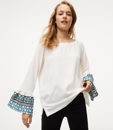 Image of Petite Embroidered Bell Sleeve Blouse