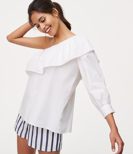 Image of Petite One Shoulder Blouse