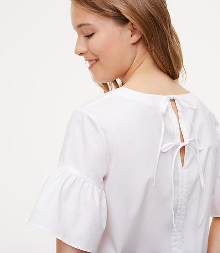 Image of Tie Back Ruffle Cuff Top