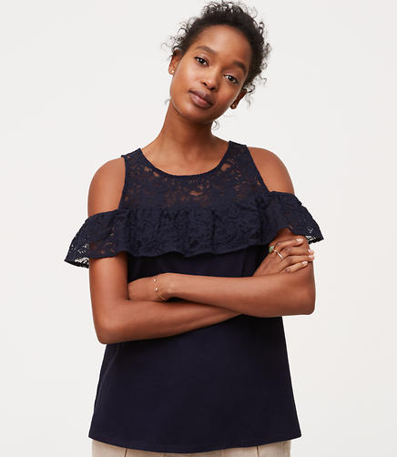 Image of Lace Flounce Cold Shoulder Top