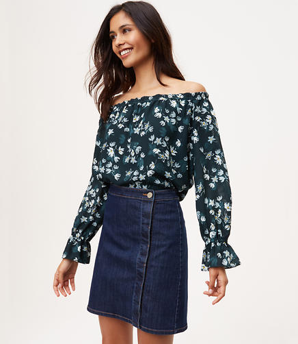 Image of Petite Denim Wrap Shift Skirt