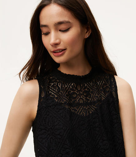 Image of Lace Mock Neck Shell