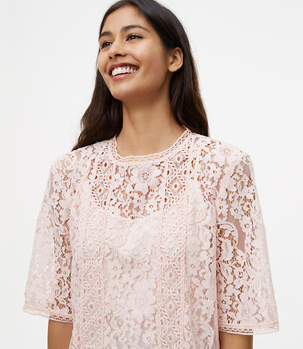 Image of Petite Floral Lace Top
