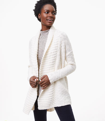 Ribbed Shawl Open Cardigan