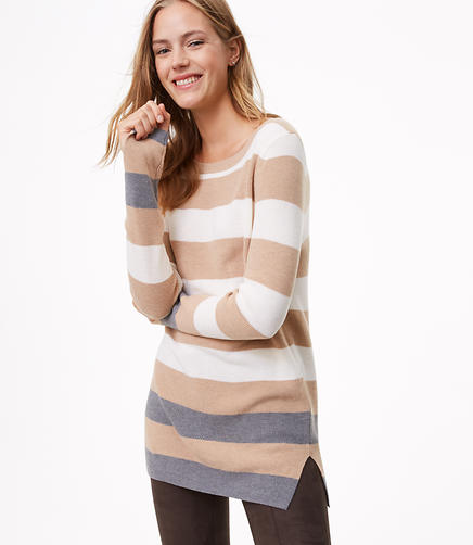 Colorblock Stripe Slit Cuff Tunic Sweater