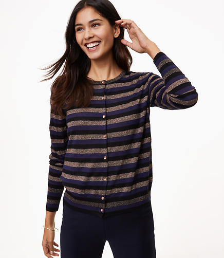 Shimmer Stripe Signature Cardigan