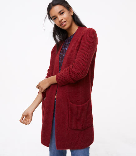 Ribbed Patch Pocket Open Cardigan