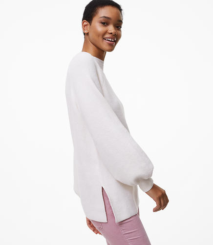Ribbed Blouson Tunic Sweater