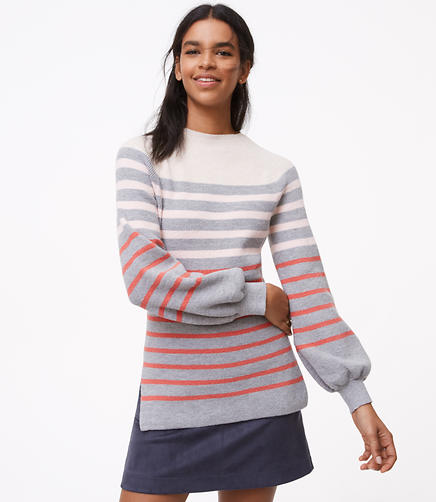 Striped Blouson Sweater