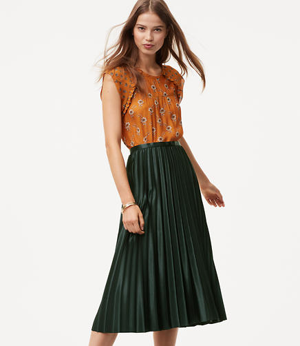 Petite Shimmer Pleated Skirt