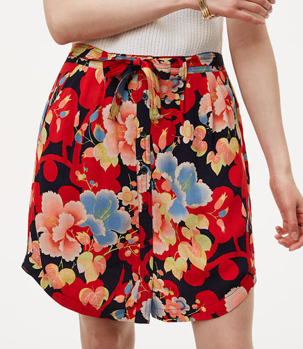 Tropic Tie Waist Button Skirt