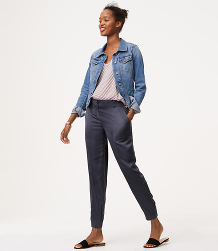 Image of Petite Satin Cargo Pants