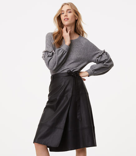 Image of Faux Leather Wrap Skirt