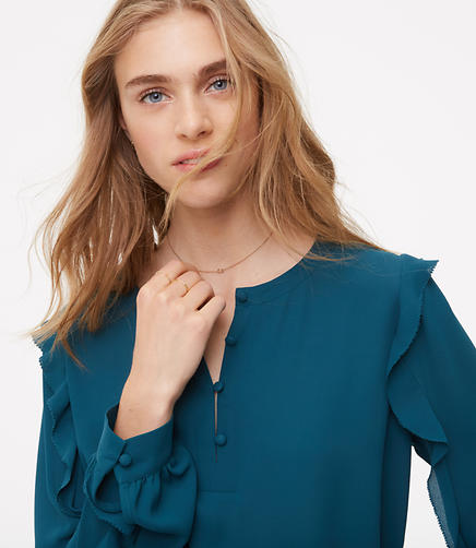 Image of Ruffle Sleeve Henley Blouse