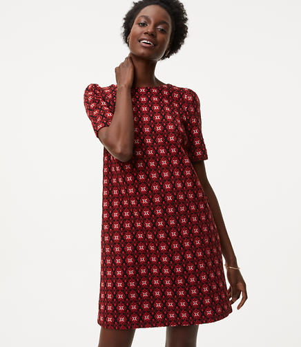 Image of Scroll Floral Jacquard Shift Dress