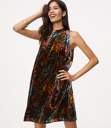 Image of Floral Velvet Swing Dress
