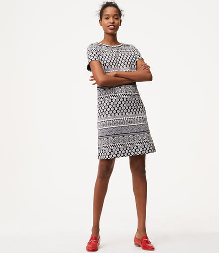 Image of Tiled Stripe Shift Dress