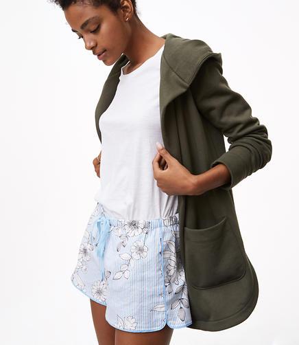 Floral Stripe Pajama Shorts