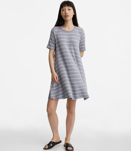 Image of Petite Lou & Grey Stripe Seamed Signaturesoft Tee Dress