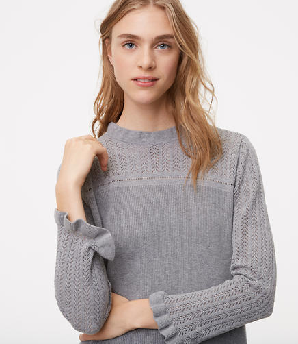 Image of Ruffled Pointelle Sweater