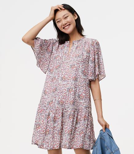Image of Petite Flowerbud Button Sleeve Dress
