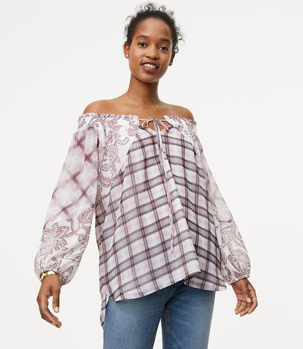 Petite Paisley Plaid Off The Shoulder Blouse