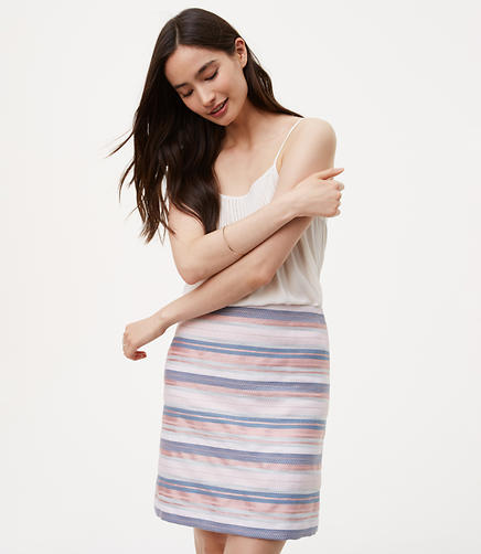 Petite Striped Shift Skirt