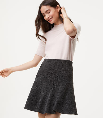 Herringbone Seamed Flippy Skirt