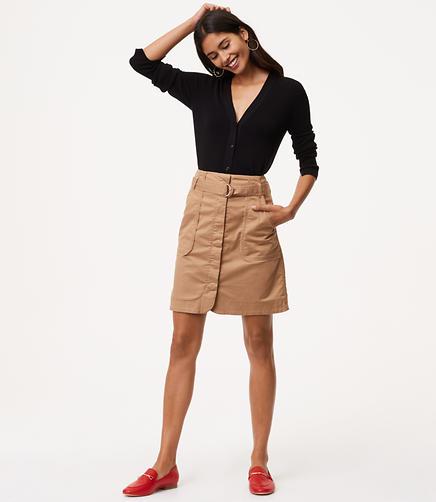 Petite Tie Waist Cargo Skirt