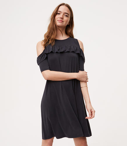 Image of Petite Ruffle Cold Shoulder Swing Dress
