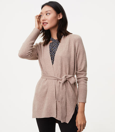 Image of Seamed Belted Cardigan