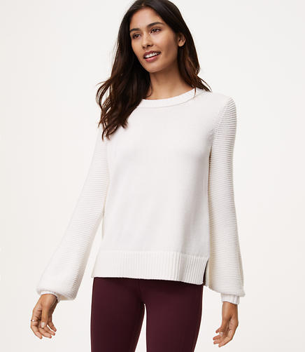 Textured Blouson Sleeve Sweater