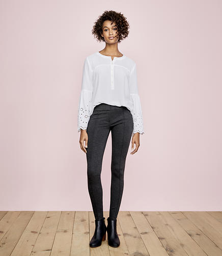 Image of Leggings in Heathered Zip Pocket Ponte