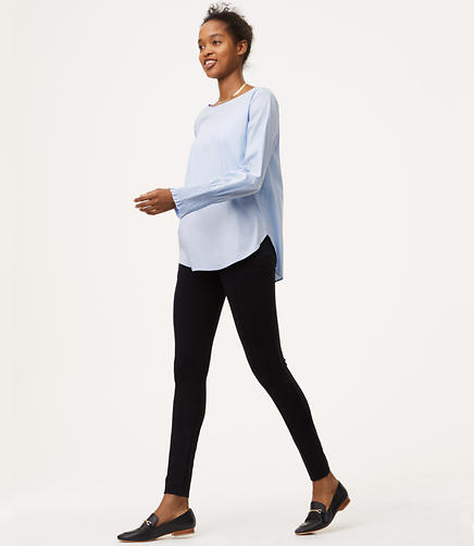 Petite Leggings in Zip Pocket Pintucked Ponte