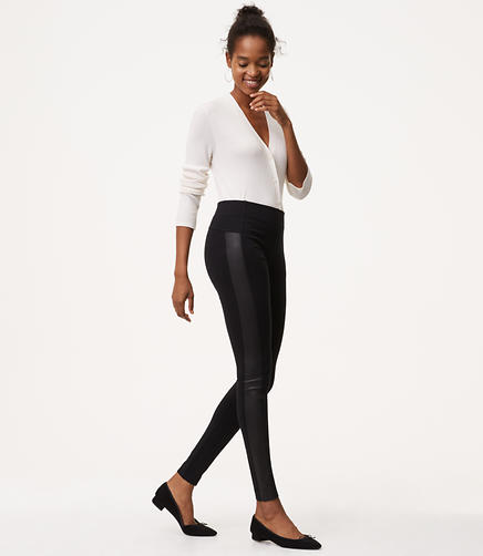 Petite Leggings in Faux Leather Paneled Ponte