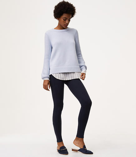 Leggings in Heathered Seamed Ponte