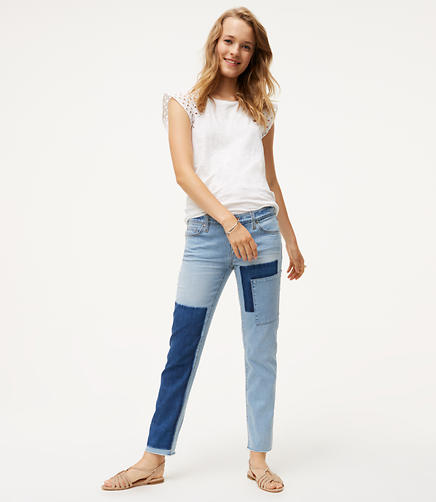 Patchwork Boyfriend Jeans in Mid Indigo Wash