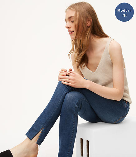 Image of Petite Modern Slit Fresh Cut Skinny Jeans in Vivid Dark Indigo Wash
