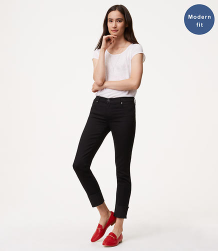 Modern Frayed Cuff Straight Leg Jeans in Black