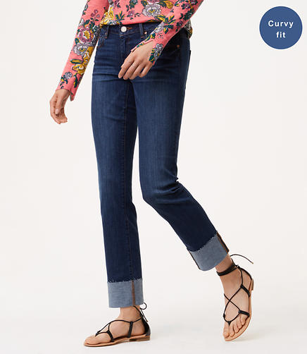 Tall Curvy Frayed Cuff Straight Leg Jeans in Pure Dark Indigo Wash