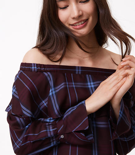 Plaid Ruffle Off The Shoulder Top