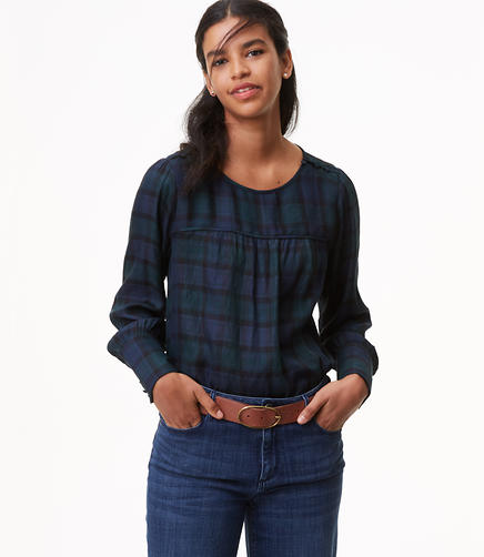 Plaid Covered Shoulder Button Blouse