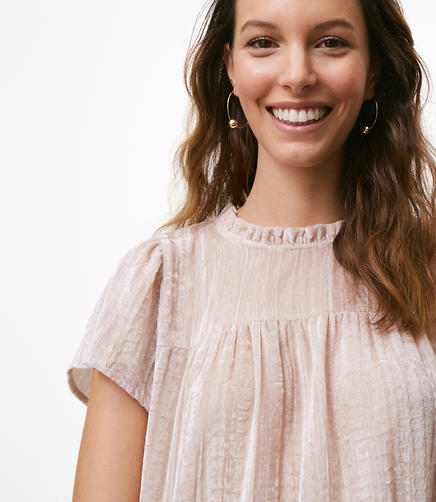 Crushed Velvet Ruffle Neck Top
