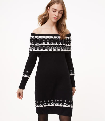 Fairisle Off The Shoulder Sweater Dress