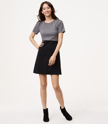 Petite Two Tone Puff Sleeve Dress