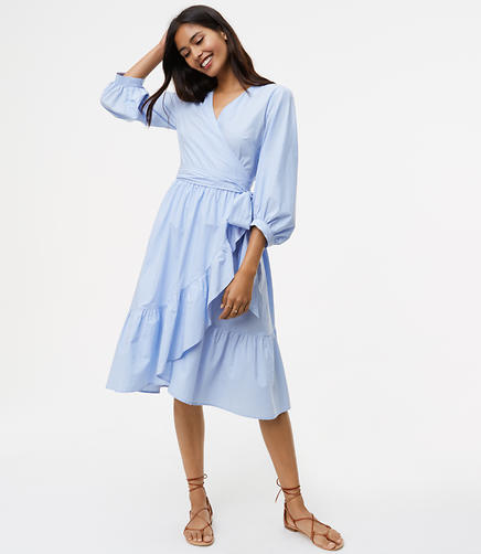Image of Petite Striped Ruffle Wrap Shirtdress