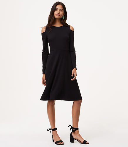 Petite Cold Shoulder Flare Dress