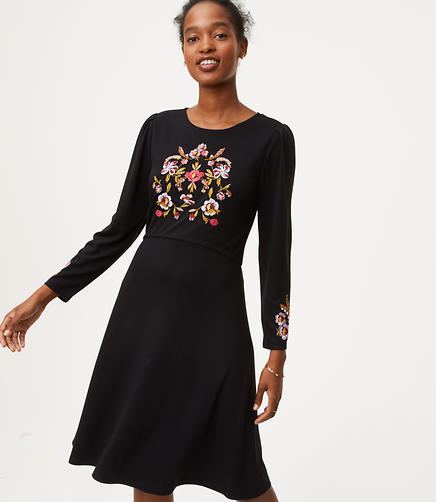 Petite Floral Embroidered Flare Dress